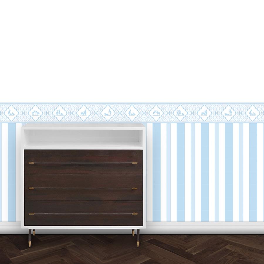hellblaue Kinderzimmer Wandtapete und Bordüre