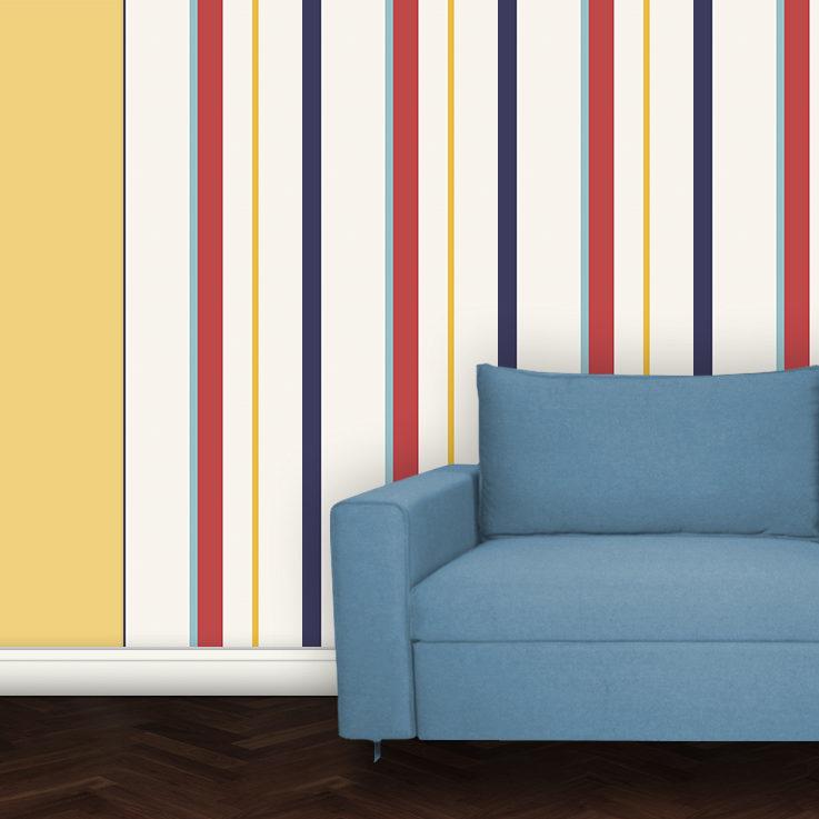 Bunte Design Streifentapete für Wohnzimmer Flur