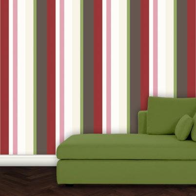 Wandtapete: Moderne rote Streifentapete Design Tapete für schönes Wohnen