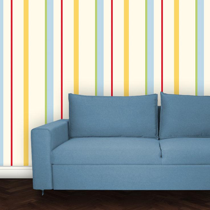 Wandtapete: Bunte individuelle Streifentapete Designtapete für schönes Wohnen