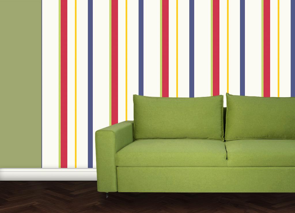 Wandtapete: Trendige bunte Streifentapete Design Tapete für schönes Wohnen