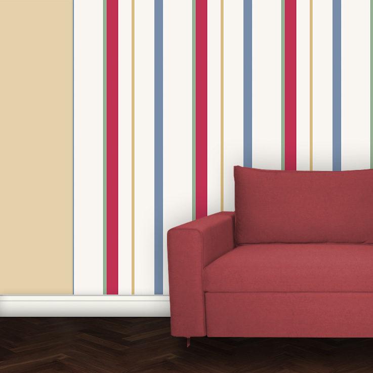 Wandtapete: Mehrfarbige Streifentapete Design Tapete für schönes Wohnen