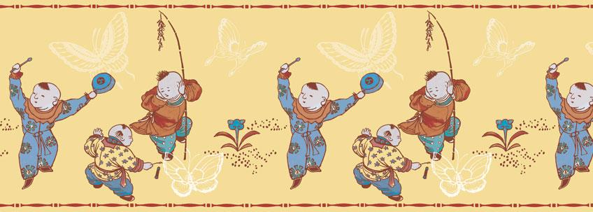 Sonnige Tapetenborte mit tanzenden Chinesen