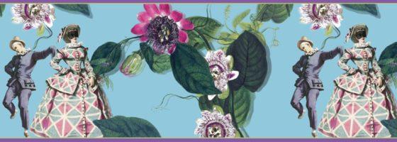 Hellblaue Tapetenborte: Comedia del Arte