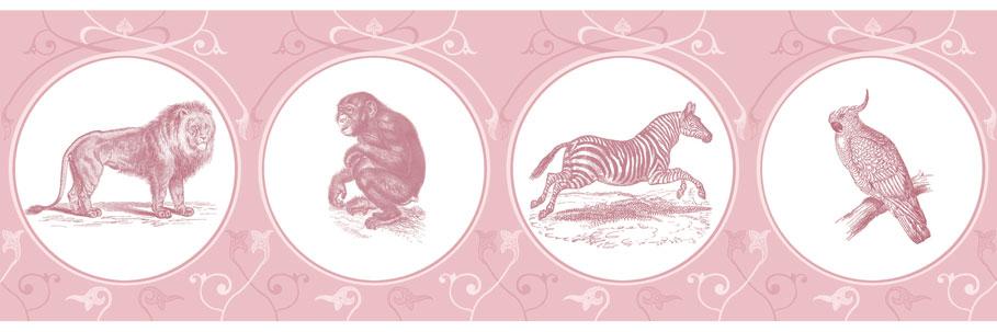 Afrikas Tiergarten tummelt sich auf dieser Tapete in pink