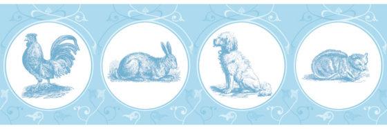 Katze, Hund und Hase leben auf dieser Haustier Tapetenborte