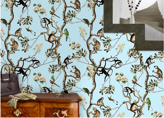 Wandgestaltung: Dschungel Tapete: Monkey Design Vliestapete für Wohnzimmer