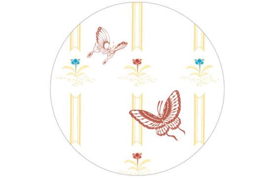 Fröhliche Schmetterlings Streifen Tapete