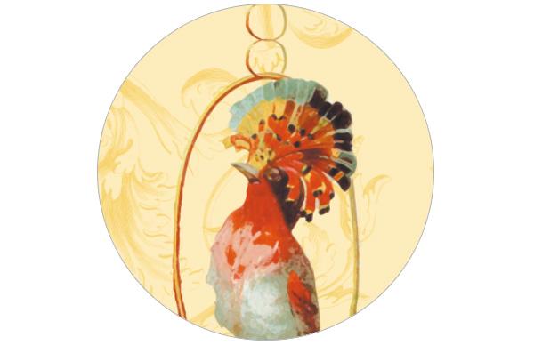 Sonnige Vogel Streifen Tapete Birds on a string