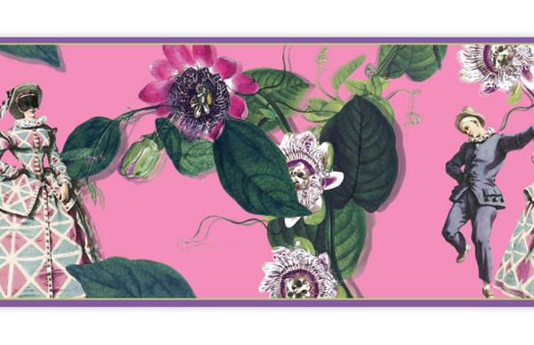 Farbenfrohe Tapeten Borte: Comedia del Arte
