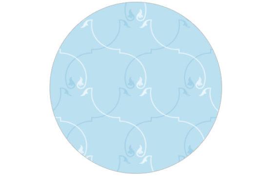 Floral gemusterte Tapete in blau