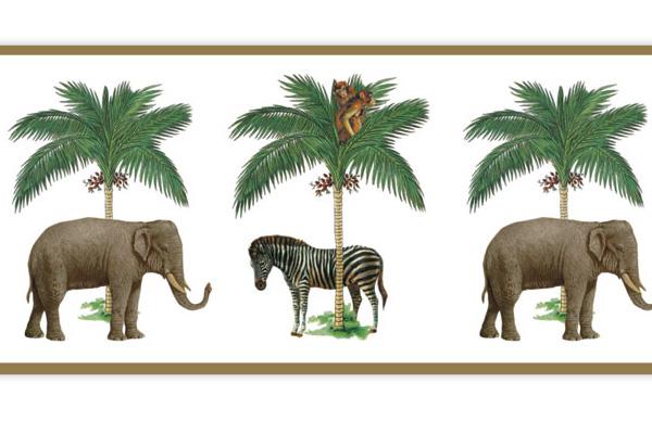 Glücks Tapetenborte mit Elefanten unter Palmen