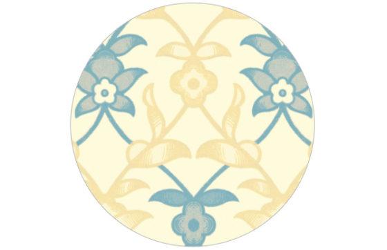 Blau gelbe Ranken Tapete mit Blumen