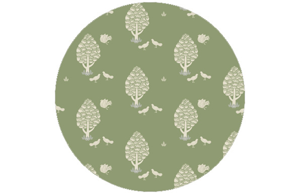 Grüne Central Park Tapete angepasst an Little Greene Garden 86