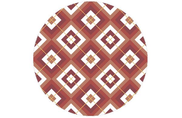 Wohnliche Diamant Tapete rot mit Karo (gelb) angepasst an Farrow and Ball Babouche
