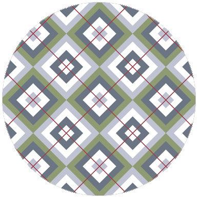 Designer Diamant Tapete grün (Garden 86) mit Karo - rot