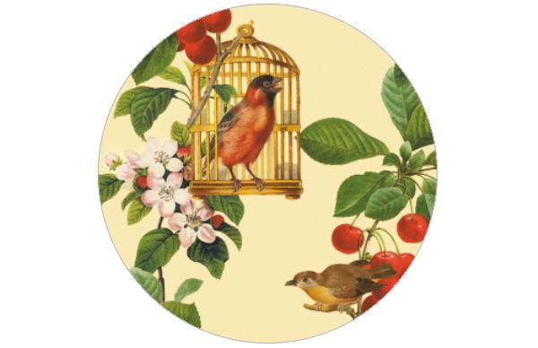 Schöne Vogel Tapete - die Apfelkirsche Blumen Vliestapete für Wohnzimmer