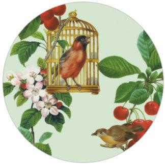 Garten Design Tapete: Die Apfelkirsche Vintage Vliestapete für Küche Wohnzimmer
