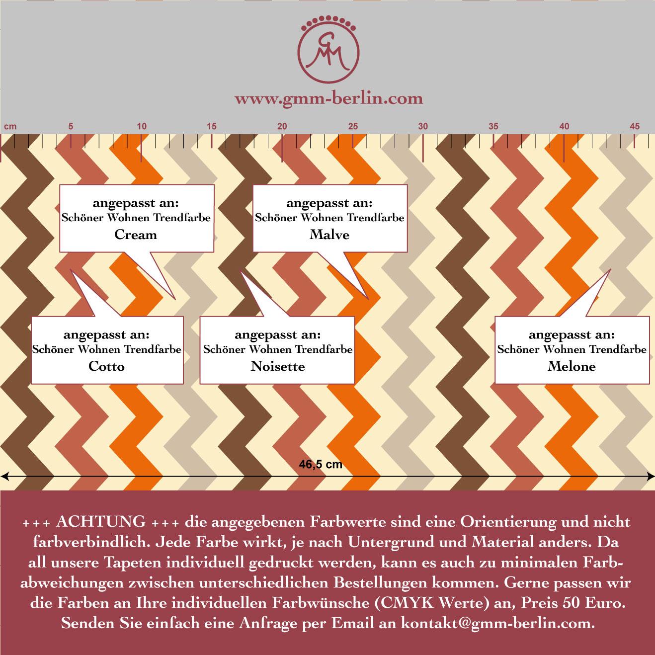 Zickzack Streifentapete bunt und individuell, passend zu Schöner Wohnen Trendfarben 3