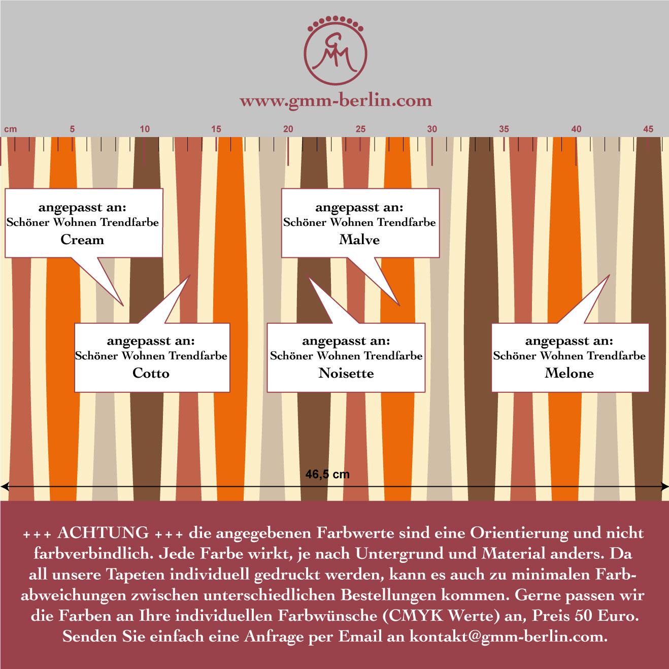 Individuelle Swing Streifentapete passend zu Schöner Wohnen Trendfarben 3