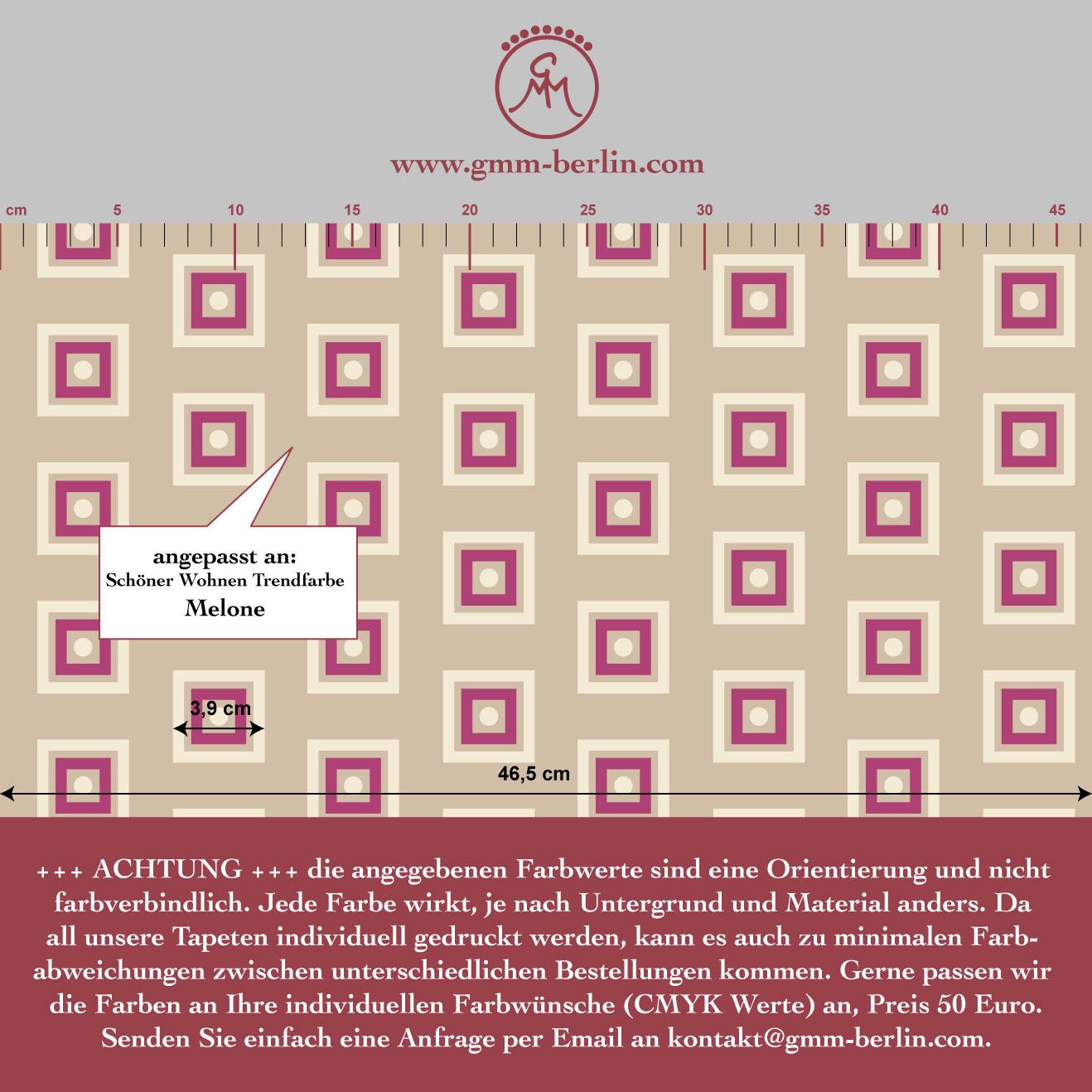 Beige Modern living - Little Square Tapete angepasst an Schöner Wohnen Trendfarbe Melone 3