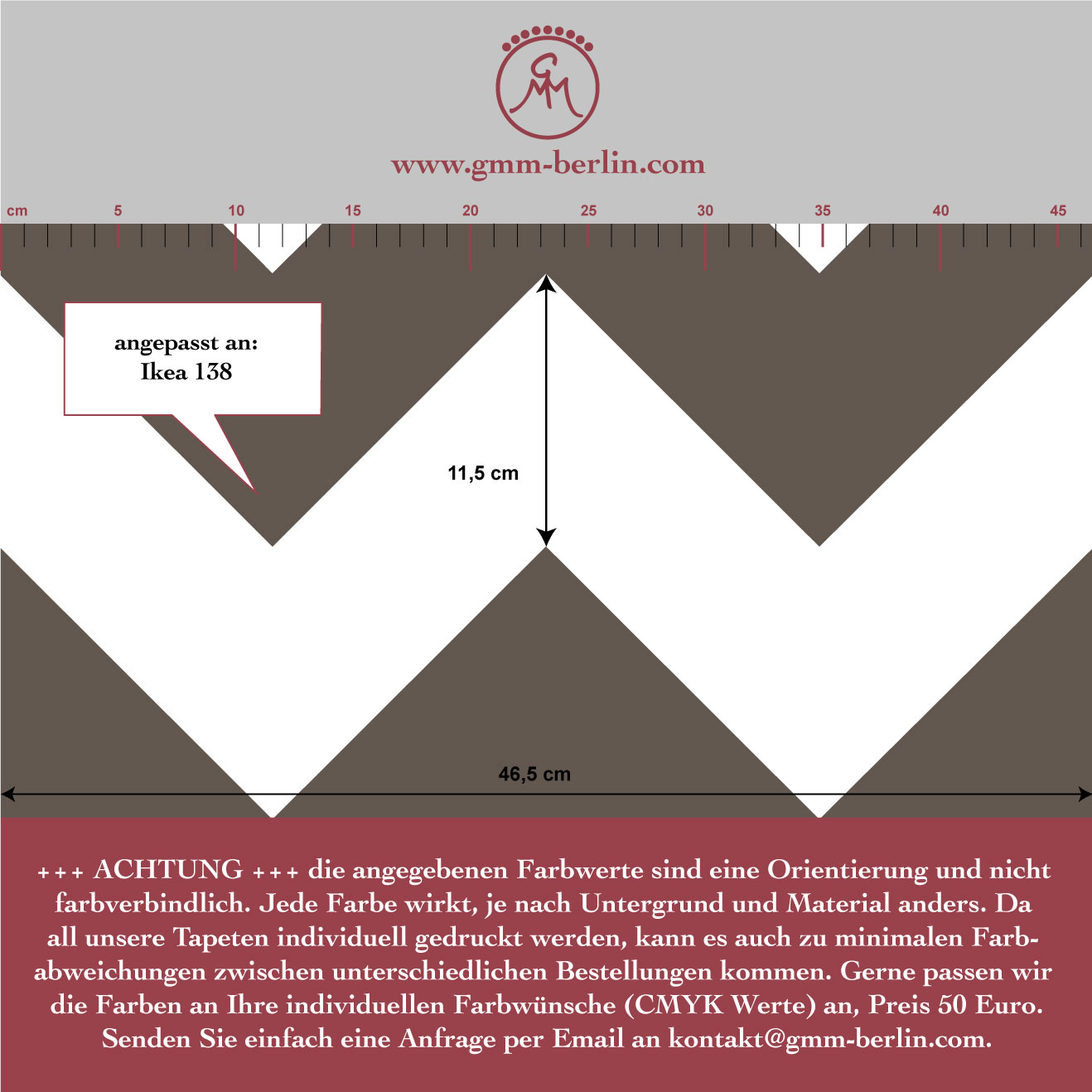 Grafische Zickzack Tapete angepasst an Ikea 138