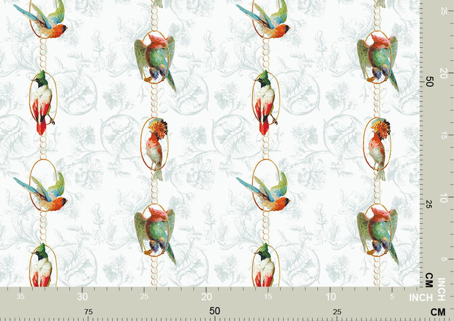 Elegante Vogel Tapete Birds on a string 3