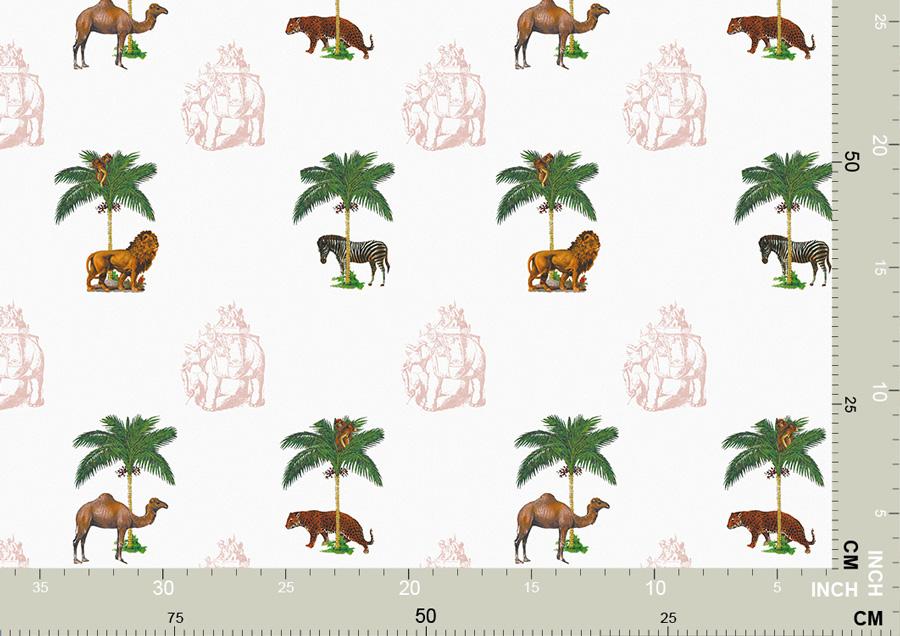 Tapete mit Tieren unter Palmen