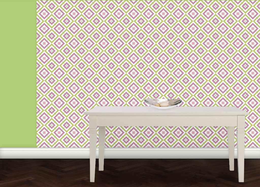 Frische Diamant Tapete rosa grün mit Karo (grün) angepasst an Ikea 114