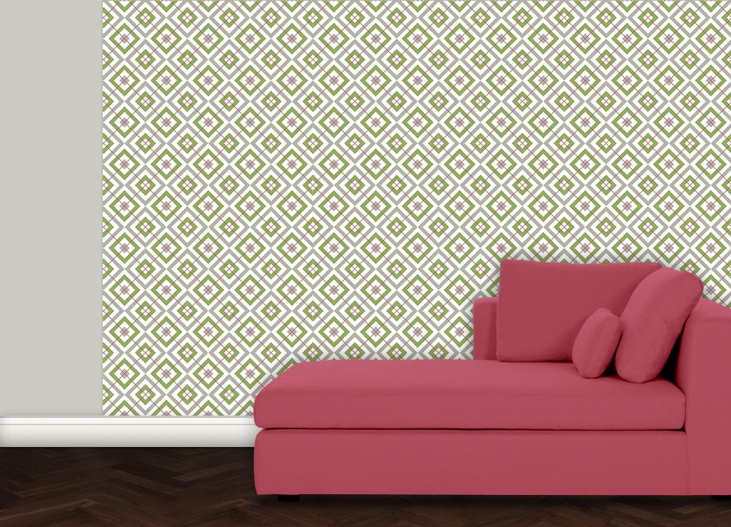 farbangepasste diamant tapete gr n grau ral 7032 mit karo rot gr flich m nster 39 sche manufaktur. Black Bedroom Furniture Sets. Home Design Ideas