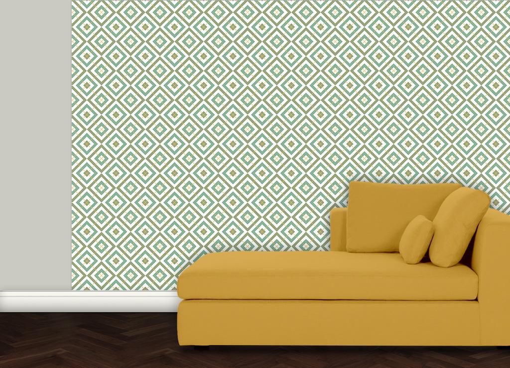 Edle Design Tapete Diamant grün (Saxon Green) mit Karo - gelb