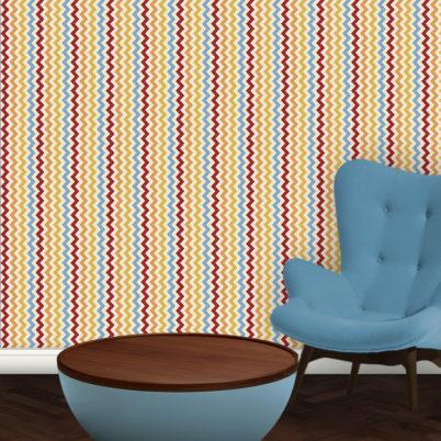 Multicolor Zickzack Streifentapete passend zu Ikea Trendfarben