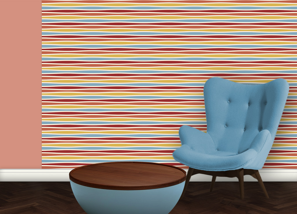 Multicolor Swing Querstreifentapete passend zu Ikea Trendfarben 2