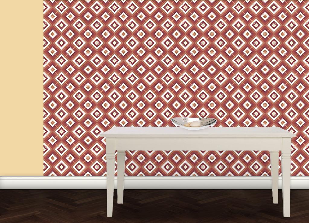 wohnliche diamant tapete rot mit karo gelb gmm. Black Bedroom Furniture Sets. Home Design Ideas