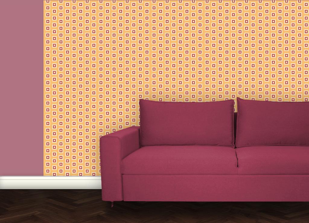 Wohnliche Little Square Tapete gelb angepasst an Schöner Wohnen Trendfarbe Papaya