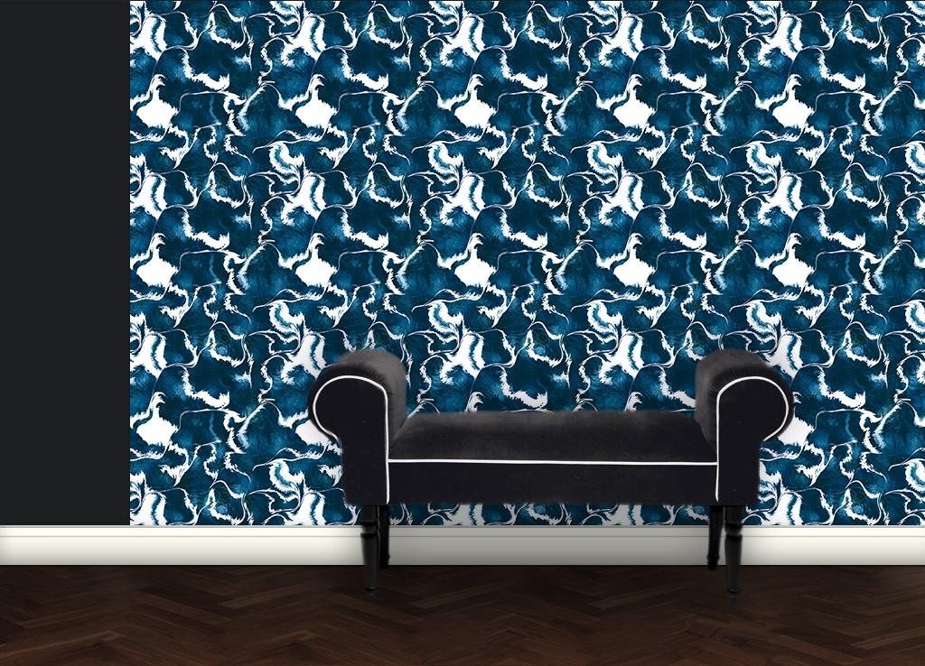 Designer Tapete Marble Art – blau