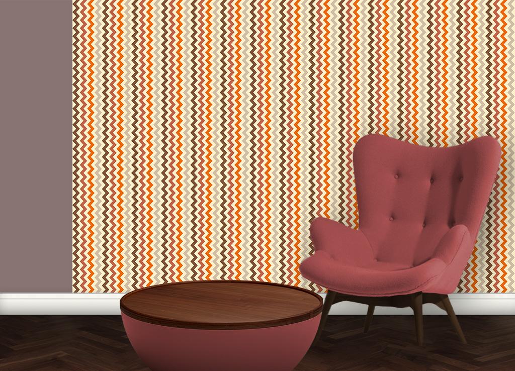 Zickzack Streifentapete bunt und individuell, passend zu Schöner Wohnen Trendfarben 2