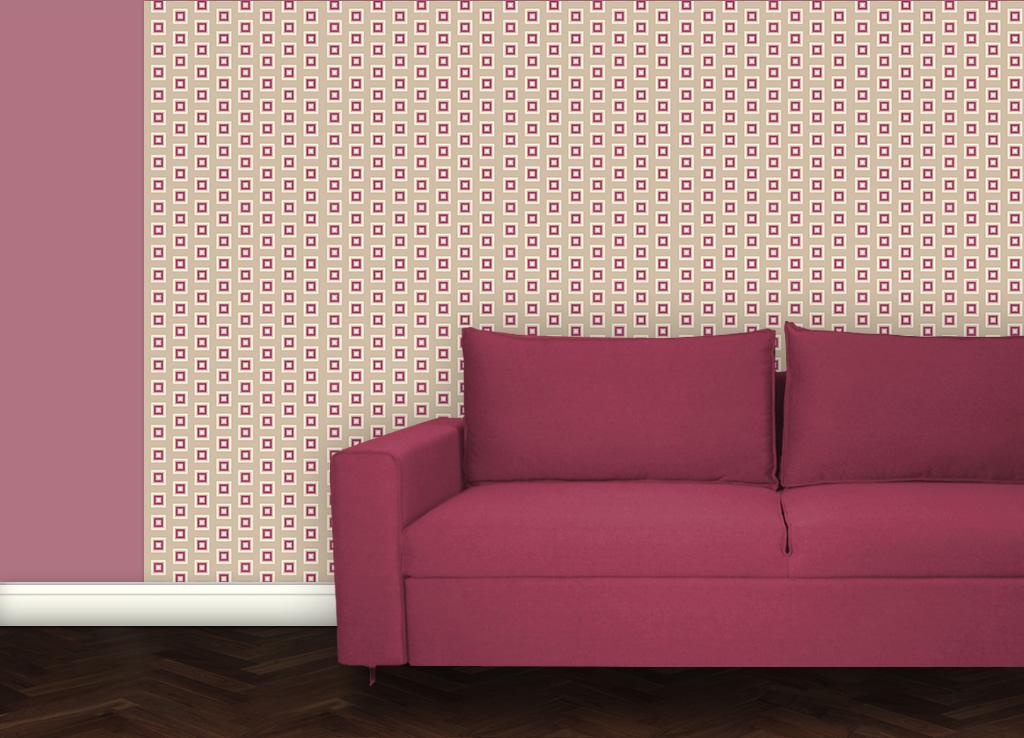Beige Modern living - Little Square Tapete angepasst an Schöner Wohnen Trendfarbe Melone 2