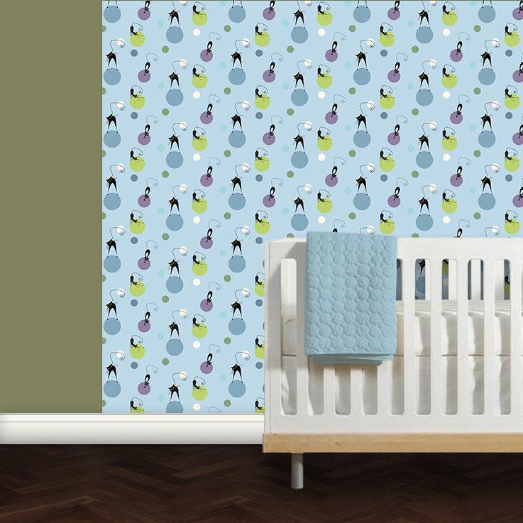 Babyzimmer Tapete Katzen Polka