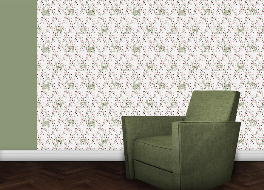 Design Tapete Beerenwild mit Hirschen Wohnzimmer Wandgestaltung