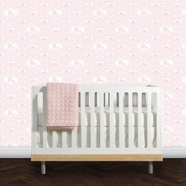 Hinreißende rosa Kinderzimmer Tapete mit Scherenschnitten