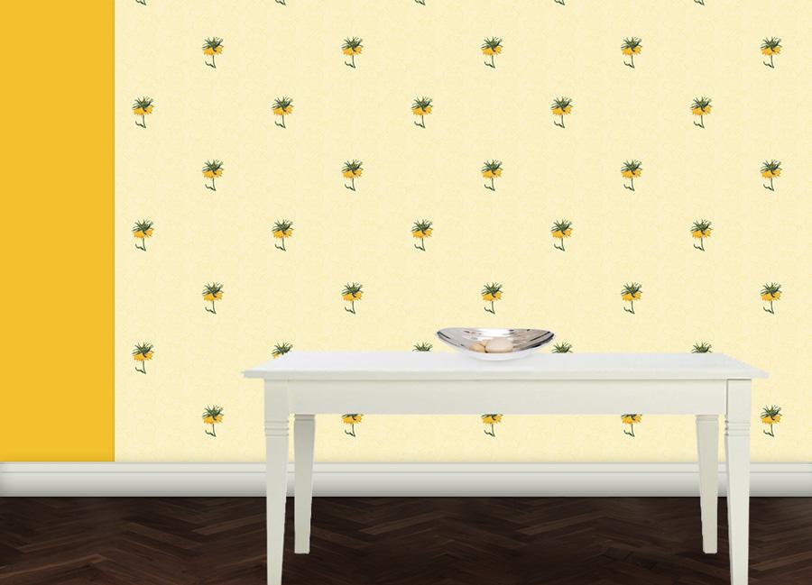 Exotische ornamentale Tapete mit großen Blumen 2
