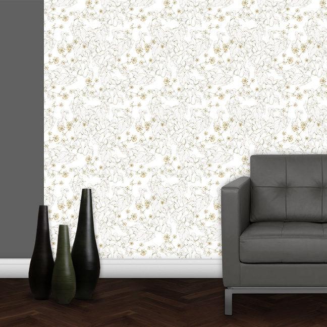 """Ivy"" elegante Garten Tapete in grau"