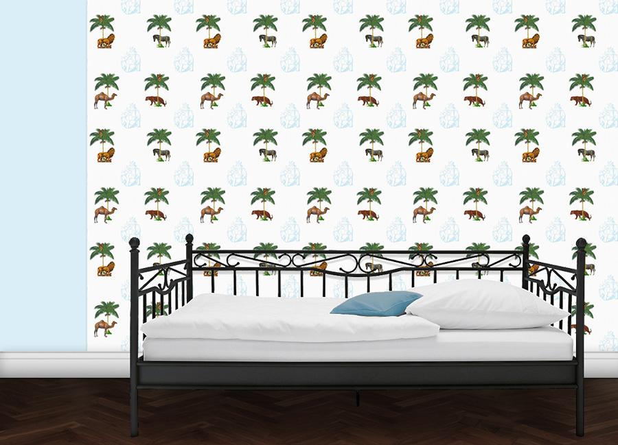 La Ménagerie Tapete mit Tieren unter Palmen