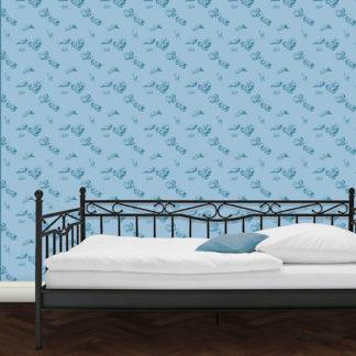 Schlafende Hirten - Die Tapete Le Repos in blau