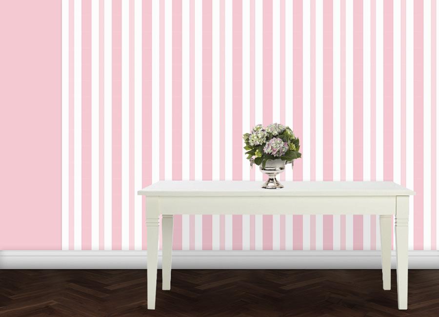Hell rosa Baby/ Kinder Streifen Tapete 2