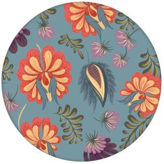 Edle florale Tapete mit großen Blüten auf hellblau Vliestapete Blumen Wohnzimmer