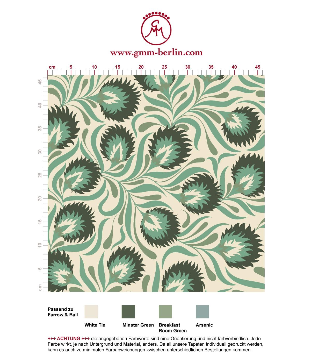 Feine Jugendstil Tapete mit großen Blüten in grün angepasst an Farrow & Ball Wandfarben. Aus dem GMM-BERLIN.com Sortiment: Schöne Tapeten in der Farbe: grün
