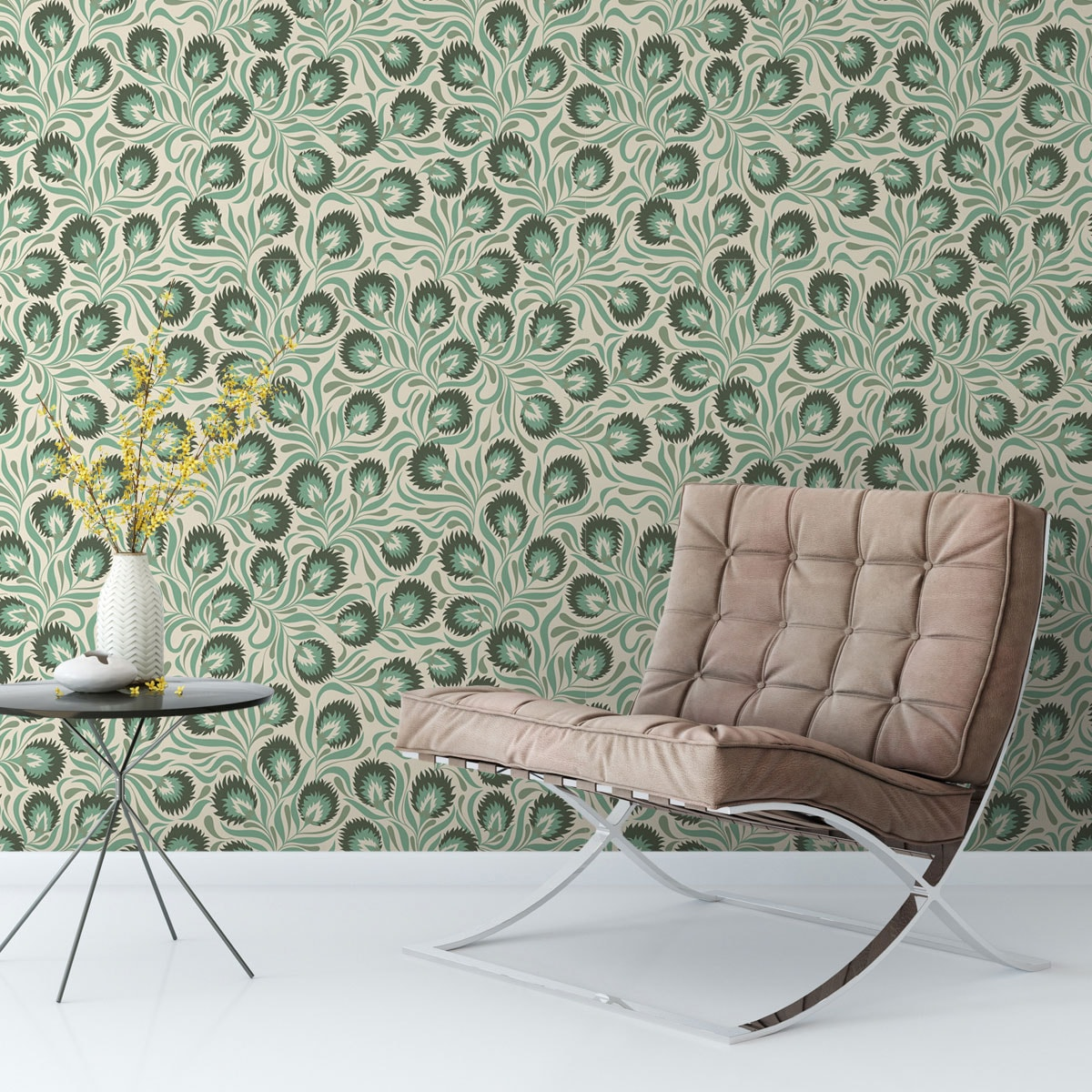 Feine Jugendstil Tapete mit großen Blüten in grün angepasst an Farrow & Ball Wandfarben - Vliestapete Blumen