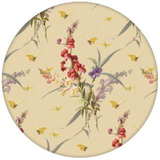 """Edle Vintage Blumen Tapete """"Blissful Spring"""" mit Schmetterlingen auf gelb Vliestapete Blüten für Wohnzimmer aus den Tapeten Neuheiten Blumentapeten und Borten als Naturaltouch Luxus Vliestapete oder Basic Vliestapete"""